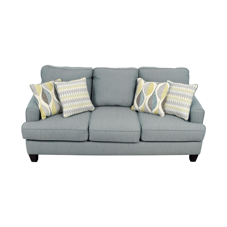 Raymour & Flanigan Blue Fabric Three-Cushion Couch sale