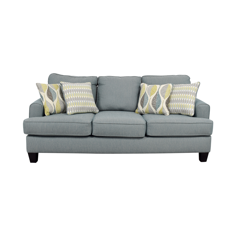 buy Raymour & Flanigan Blue Fabric Three-Cushion Couch Raymour & Flanigan Sofas