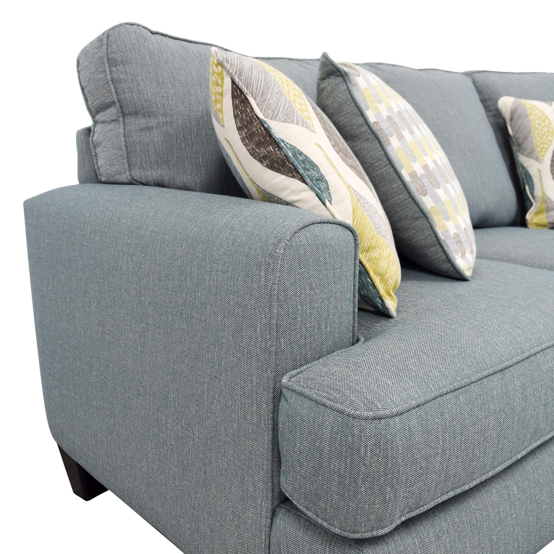 buy Raymour & Flanigan Blue Fabric Three-Cushion Couch Raymour & Flanigan