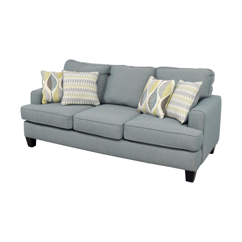 Raymour & Flanigan Raymour & Flanigan Blue Fabric Three-Cushion Couch Classic Sofas