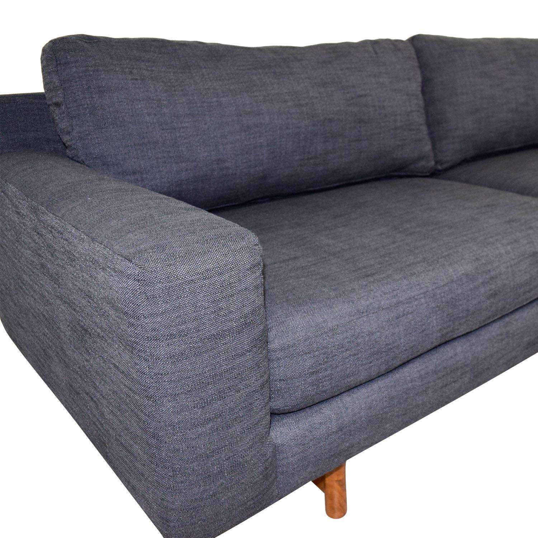 West Elm Blue Two-Cushion Sofa sale