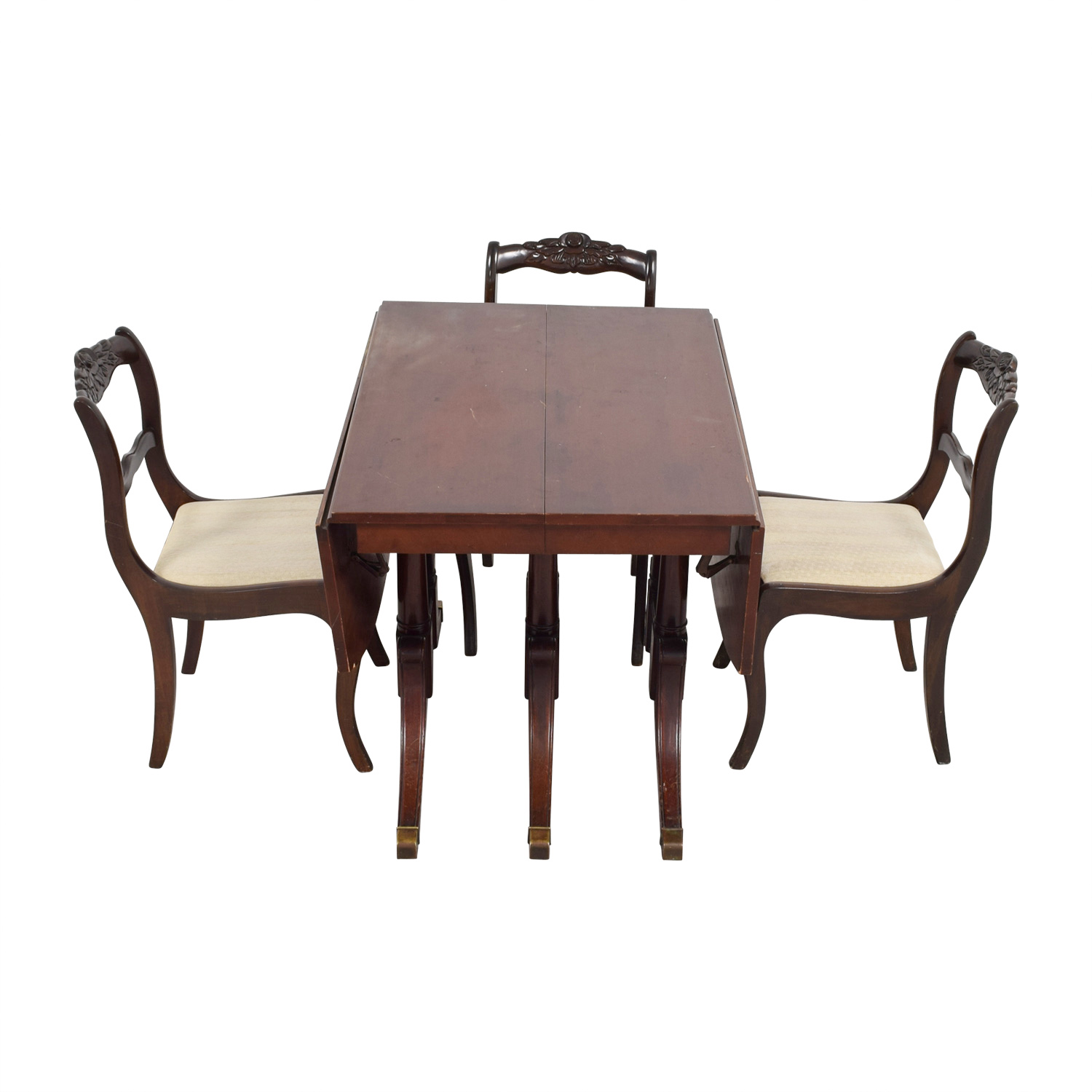 Extendable Folding Leaves Dining Set Brown / Dark Brown / Cream