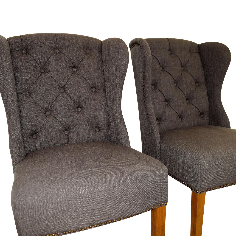 Greyson Greyson Grey Tufted Chairs second hand
