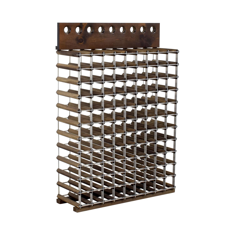 Custom Wood and Metal Wine Rack Storage