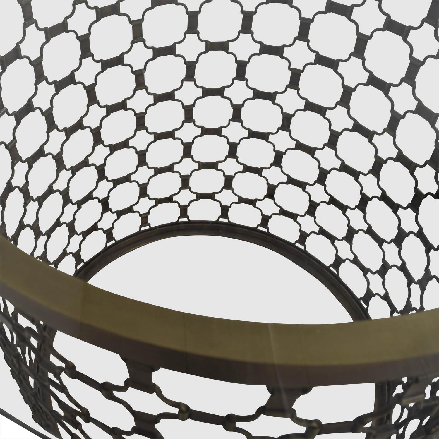 buy Naomi Naomi Round Brass and Glass Dining Table online
