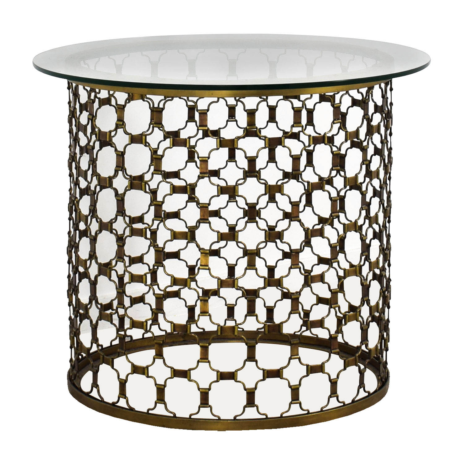 Naomi Round Brass and Glass Dining Table / Dinner Tables