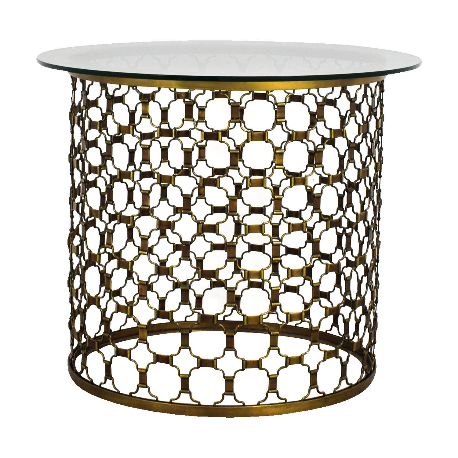 shop Naomi Naomi Round Brass and Glass Dining Table online