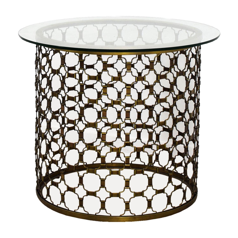 buy Naomi Round Brass and Glass Dining Table Naomi