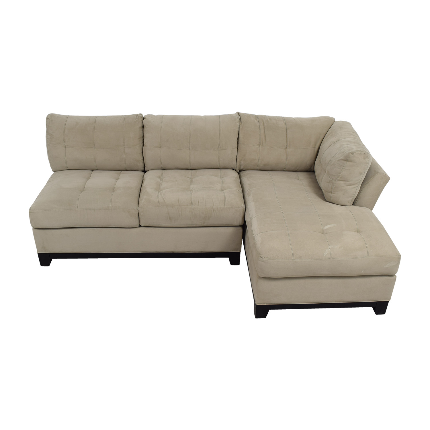 Raymour & Flanigan Raymour & Flanigan Cindy Crawford Home Gray Microfiber Sectional Sectionals