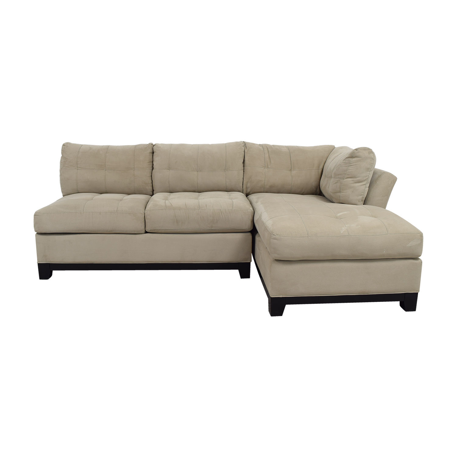 Raymour & Flanigan Cindy Crawford Home Gray Microfiber Sectional / Sectionals