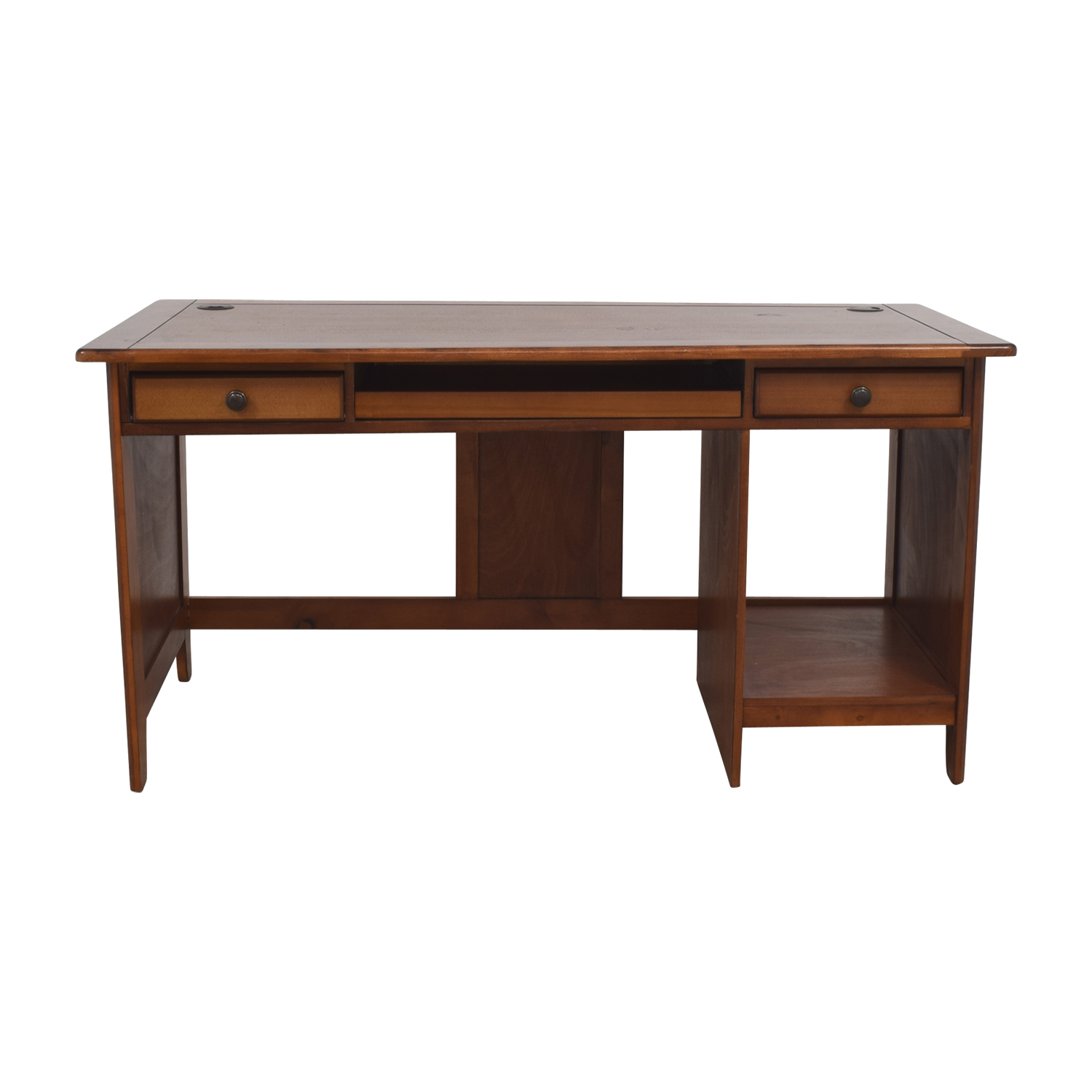 76% OFF - Glass-Top Dark Brown Wood Desk with File Cabinet / Tables