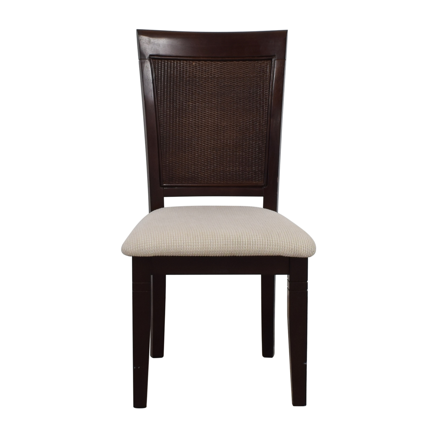 Beige Wood Chair with Padded Seat