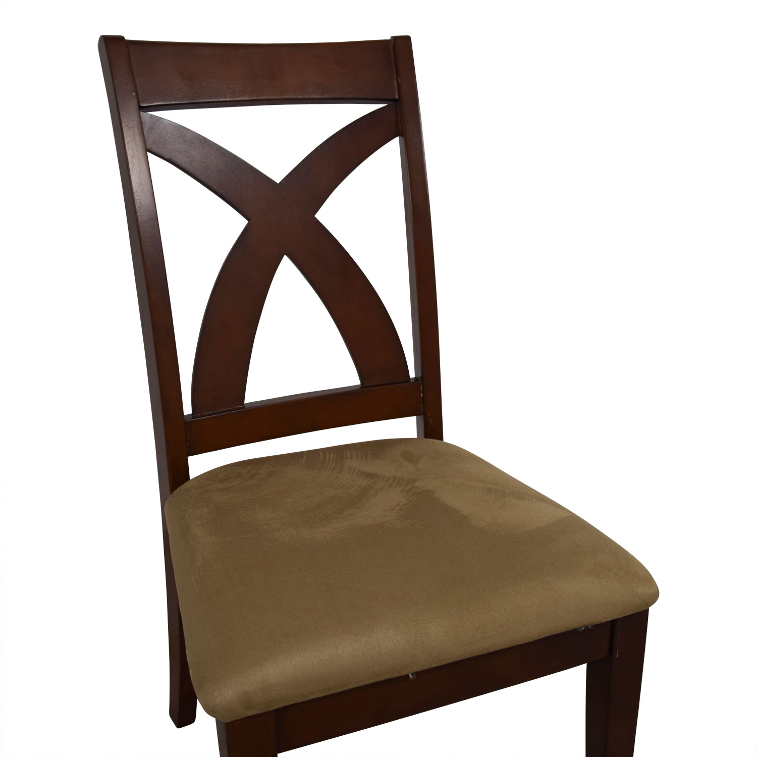 Solid Wood Chair with Cross Back & Padded Seat