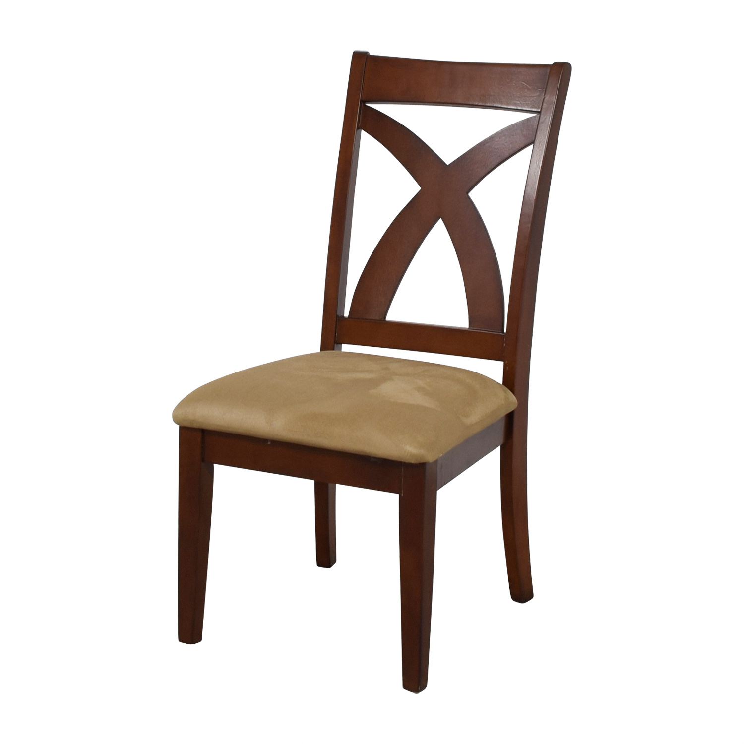 84 Off Solid Wood Chair With Cross Back Amp Padded Seat