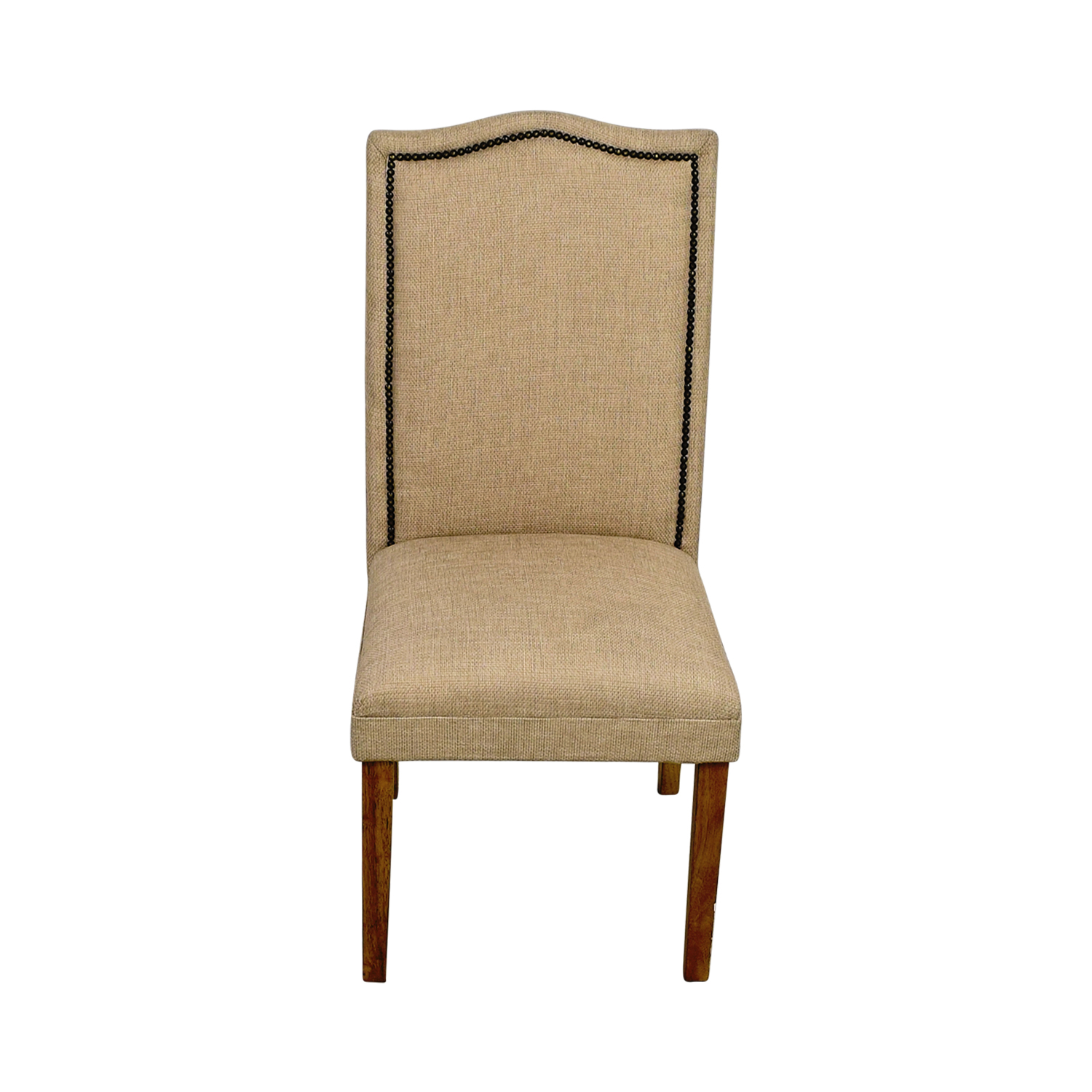 Beige High Back Chair with Nailhead Accent used