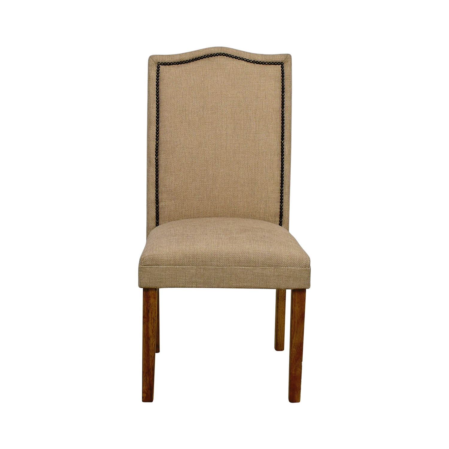 Beige High Back Chair with Nailhead Accent Dining Chairs