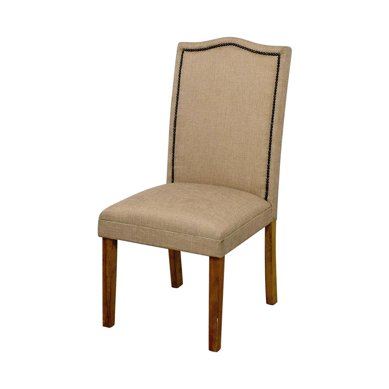shop Beige High Back Chair with Nailhead Accent online