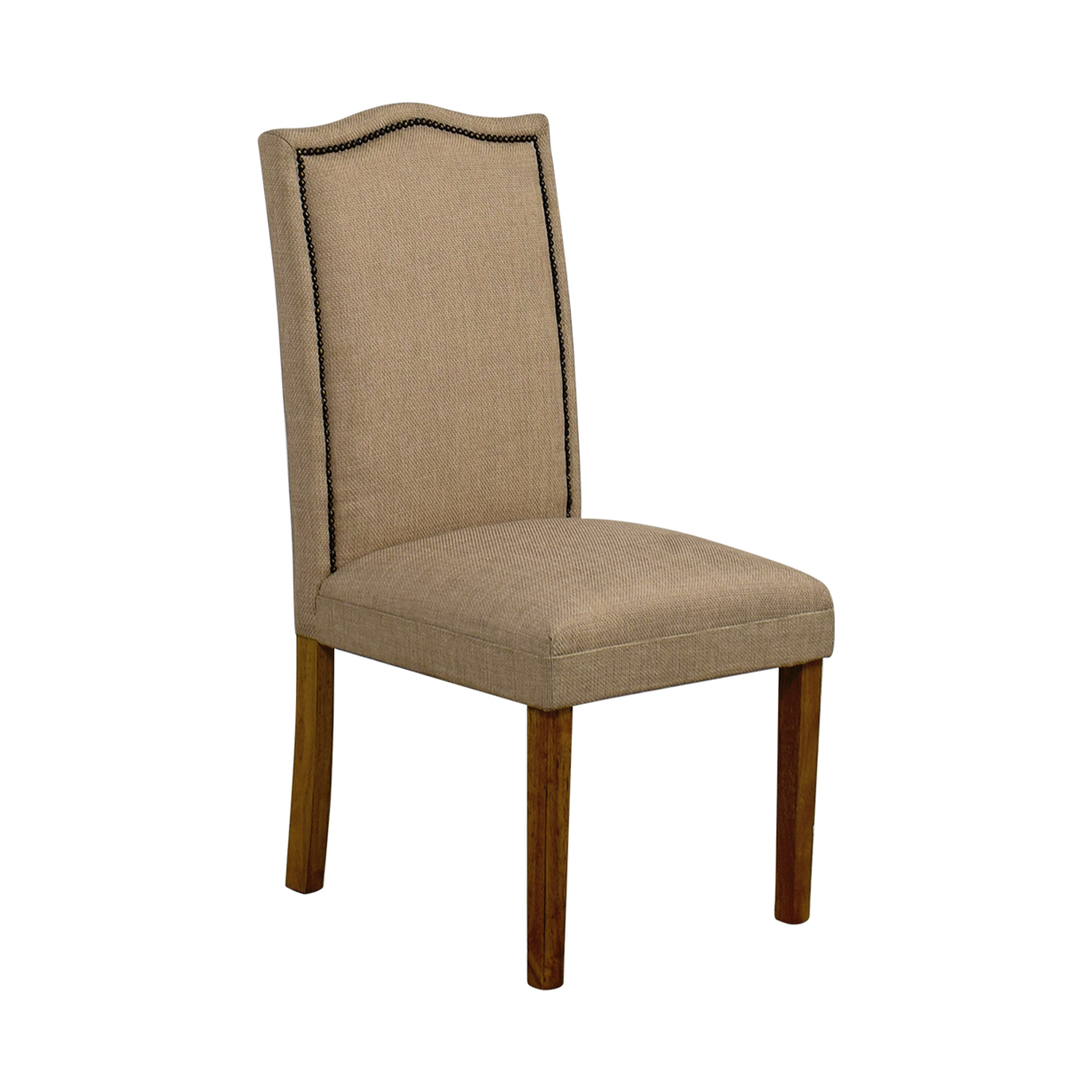 Beige High Back Chair with Nailhead Accent / Chairs