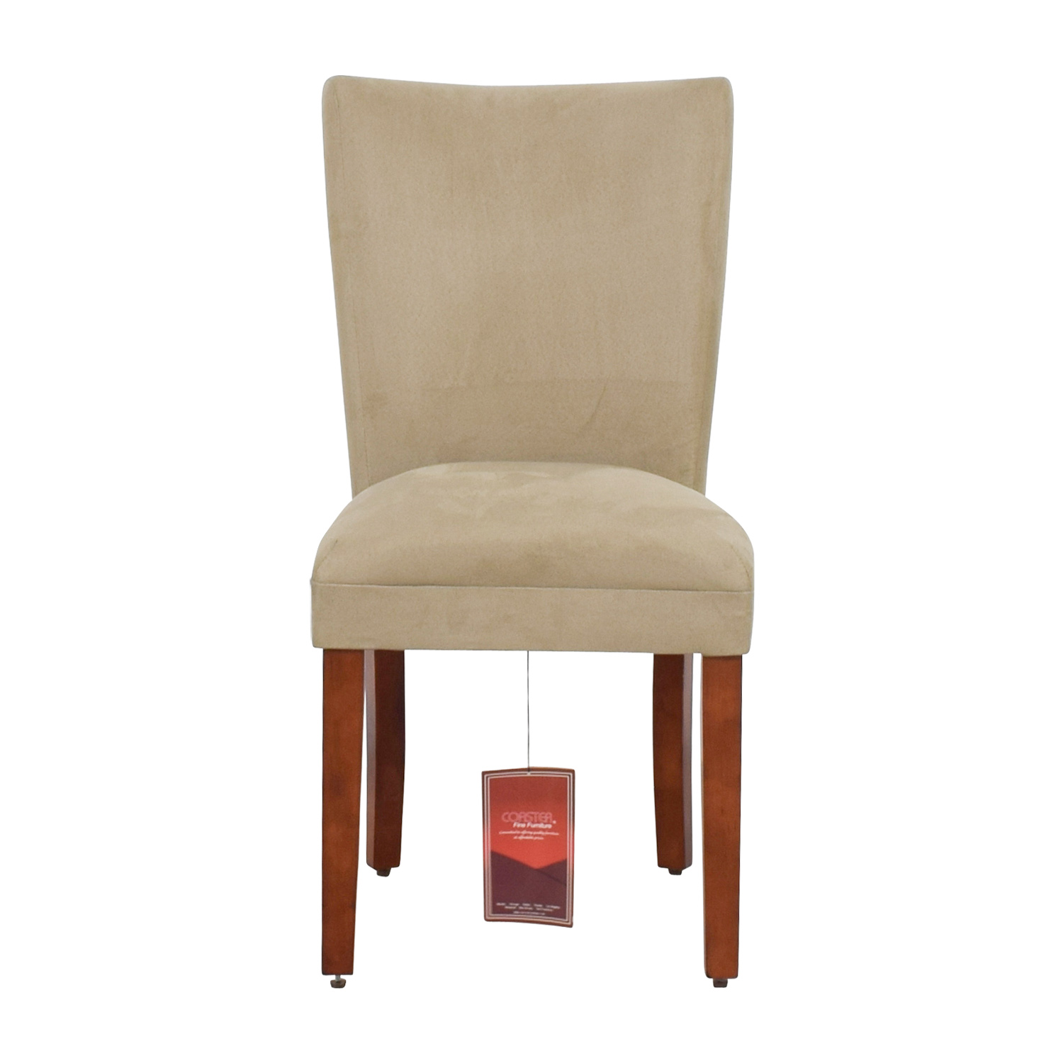 shop Coaster High Back Parsons Chair in Taupe Microfiber Fabric Coaster Dining Chairs