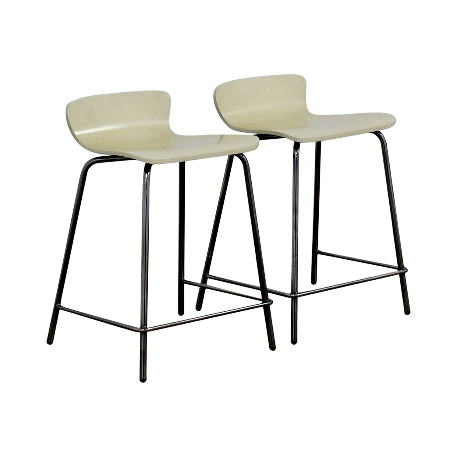 Crate & Barrel Crate & Barrel Felix White Counter Stools Cream / Chrome