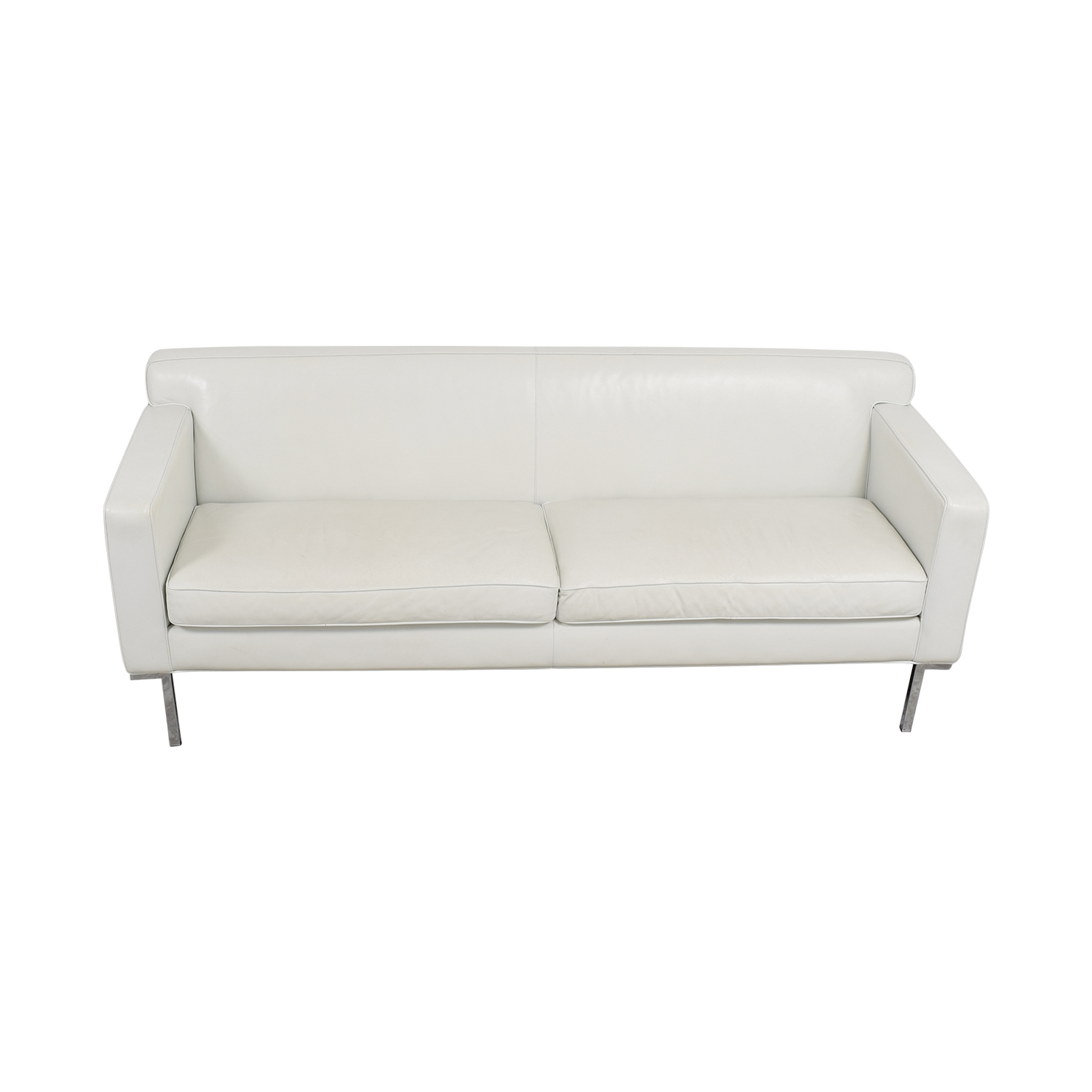 Design Within Reach White Leather Couch sale