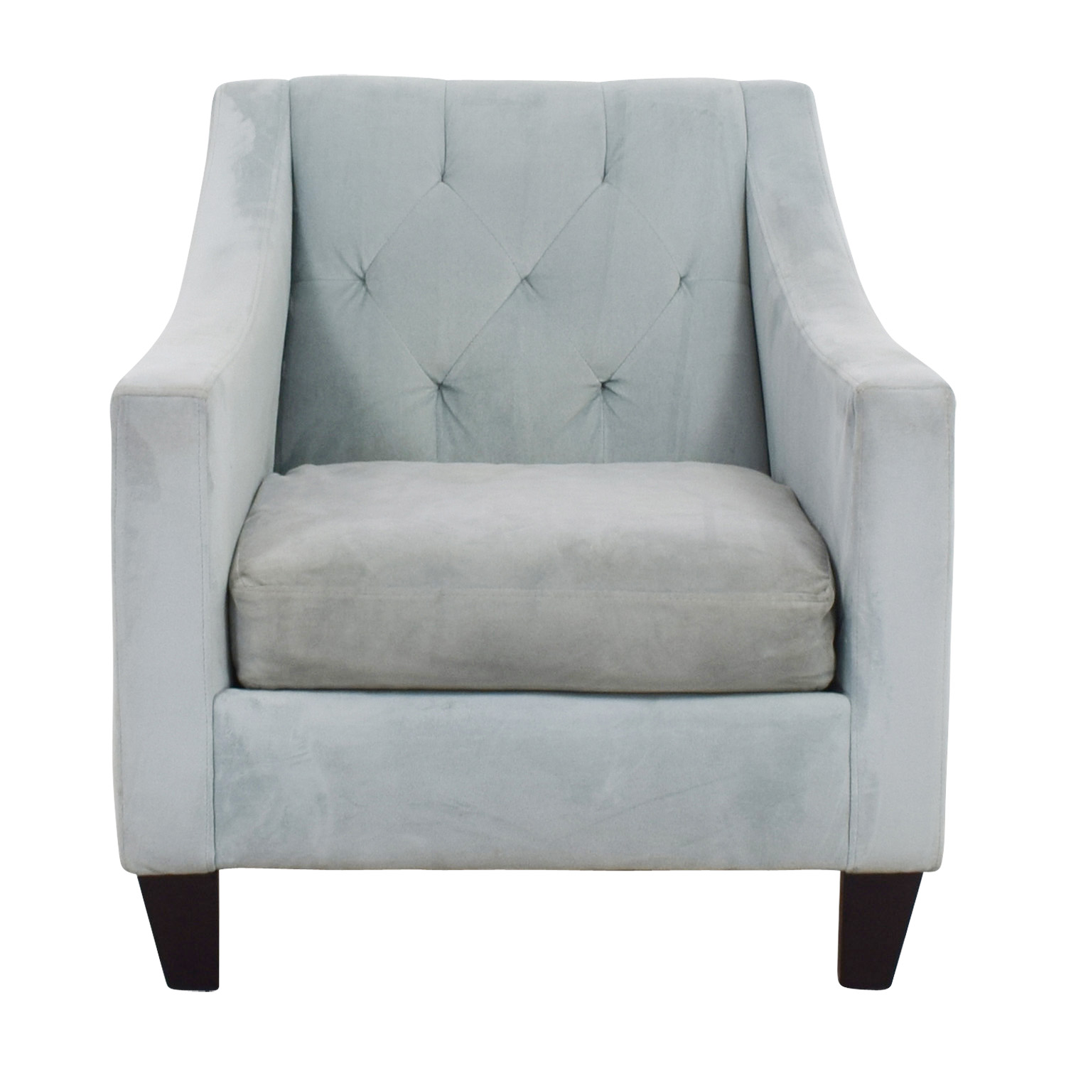 Max Studio Max Studio Blue Tufted Velvet Armchair nyc