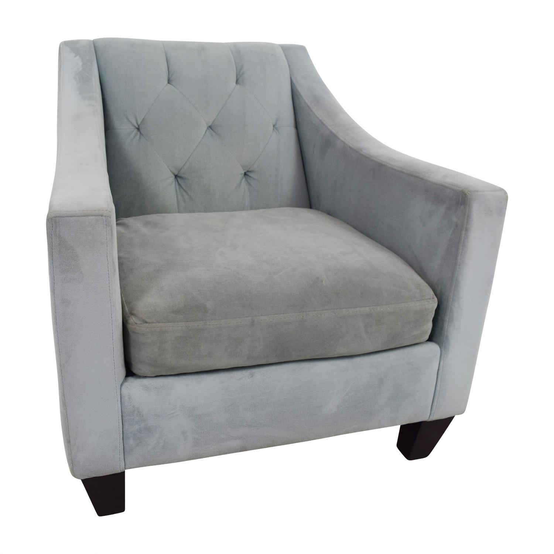 Max Studio Max Studio Blue Tufted Velvet Armchair discount