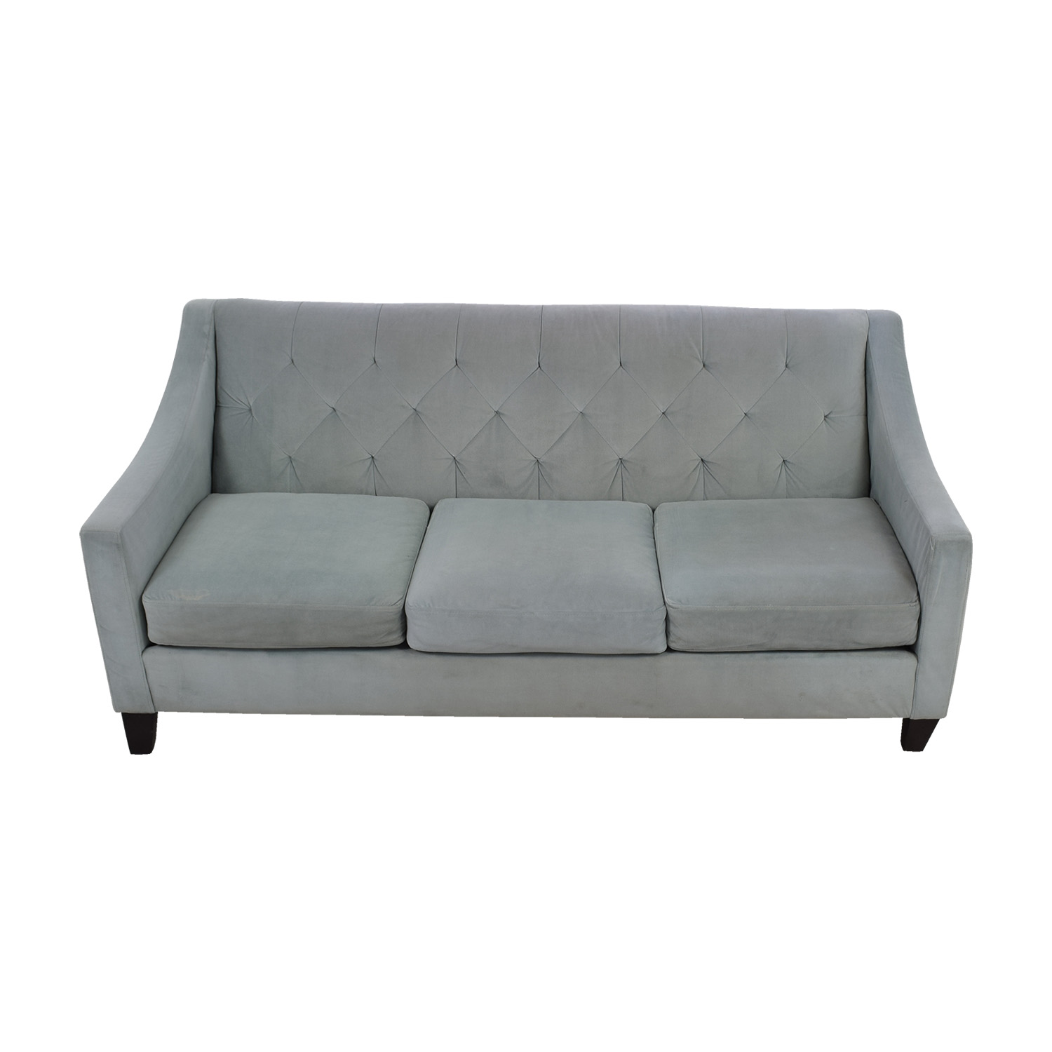 shop Max Studio Max Studio Light Blue Tufted Three Cushion Velvet Couch online