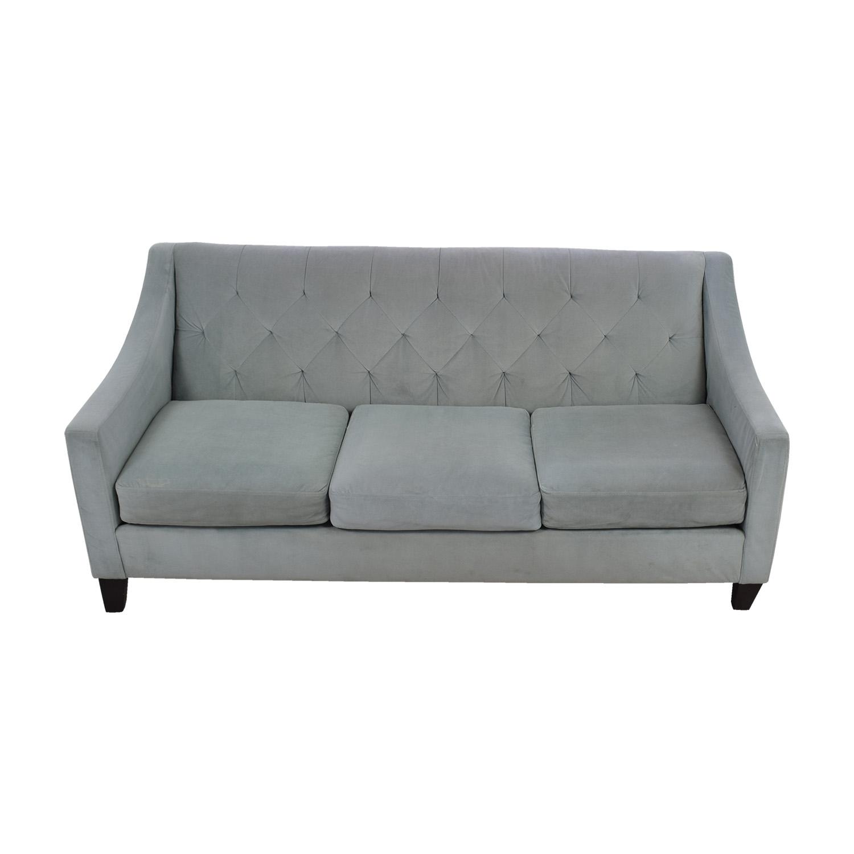 shop Max Studio Max Studio Light Blue Tufted Three Cushion Velvet Couch online