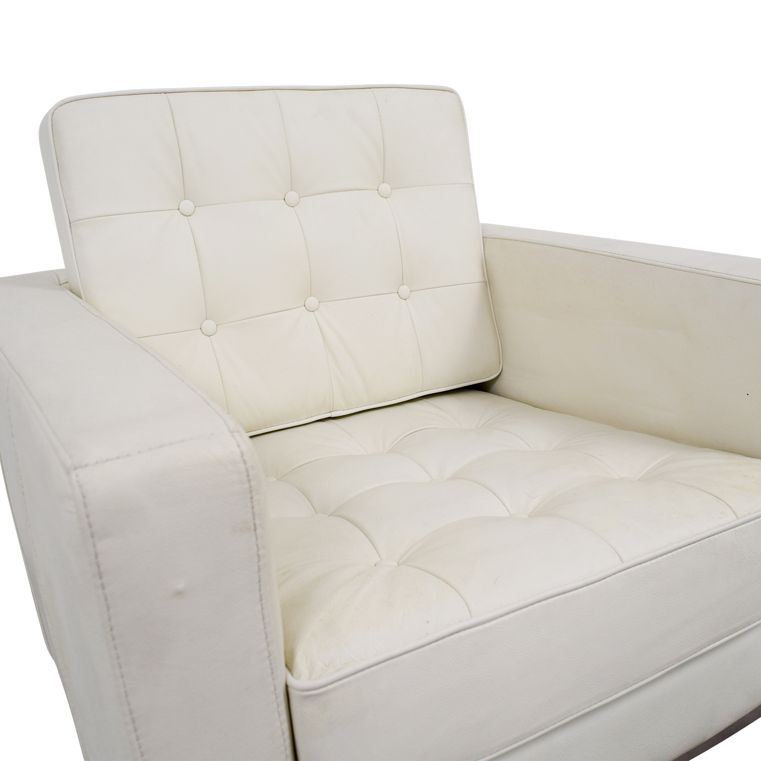 90% OFF - White Leather Tufted Accent Armchair / Chairs