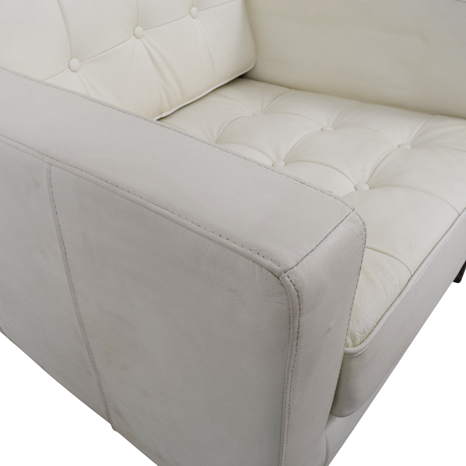 White Leather Tufted Accent Armchair on sale