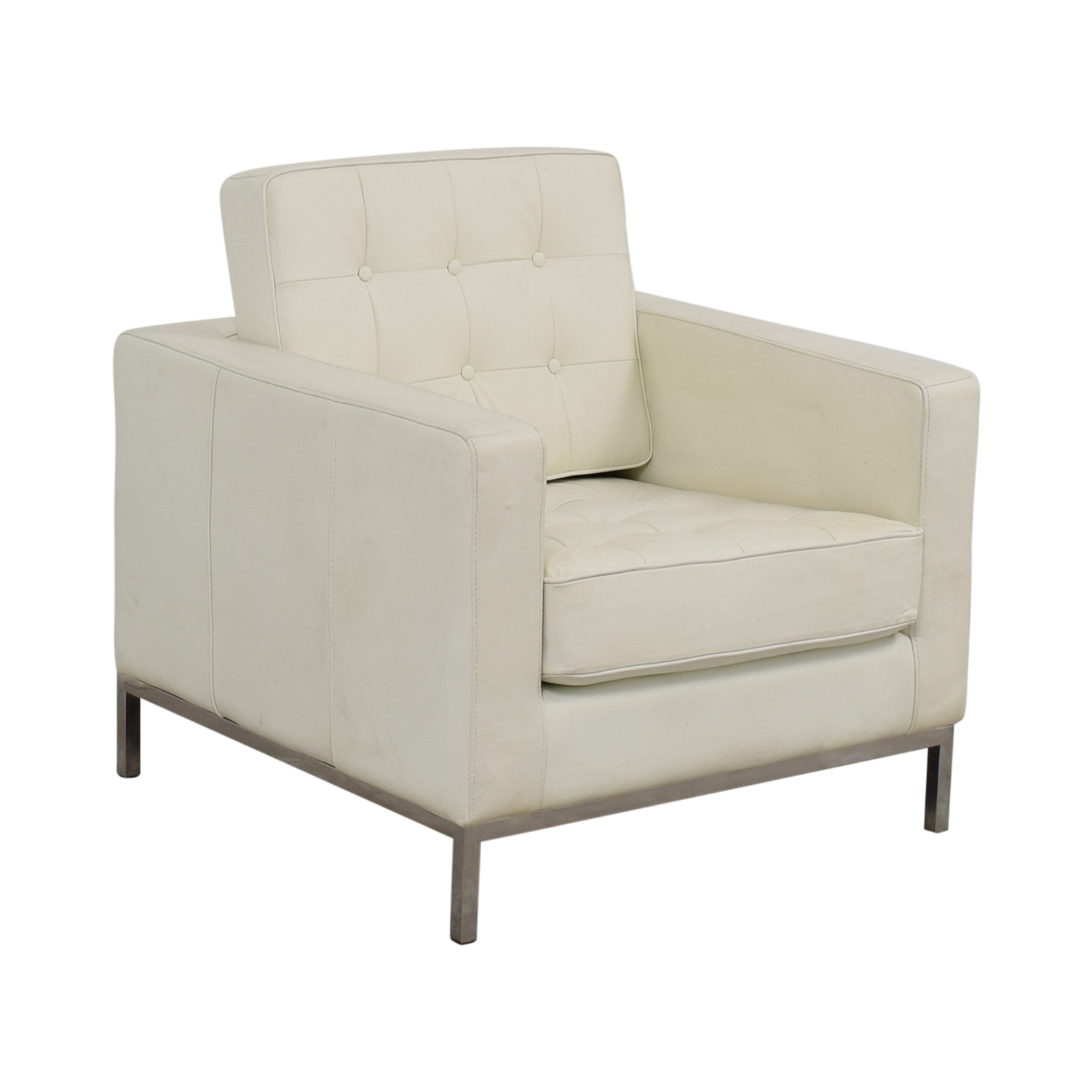 White Leather Tufted Accent Armchair