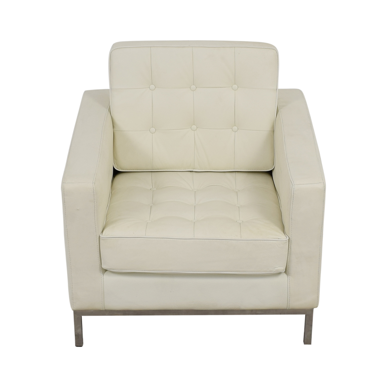White Leather Tufted Accent Armchair / Chairs