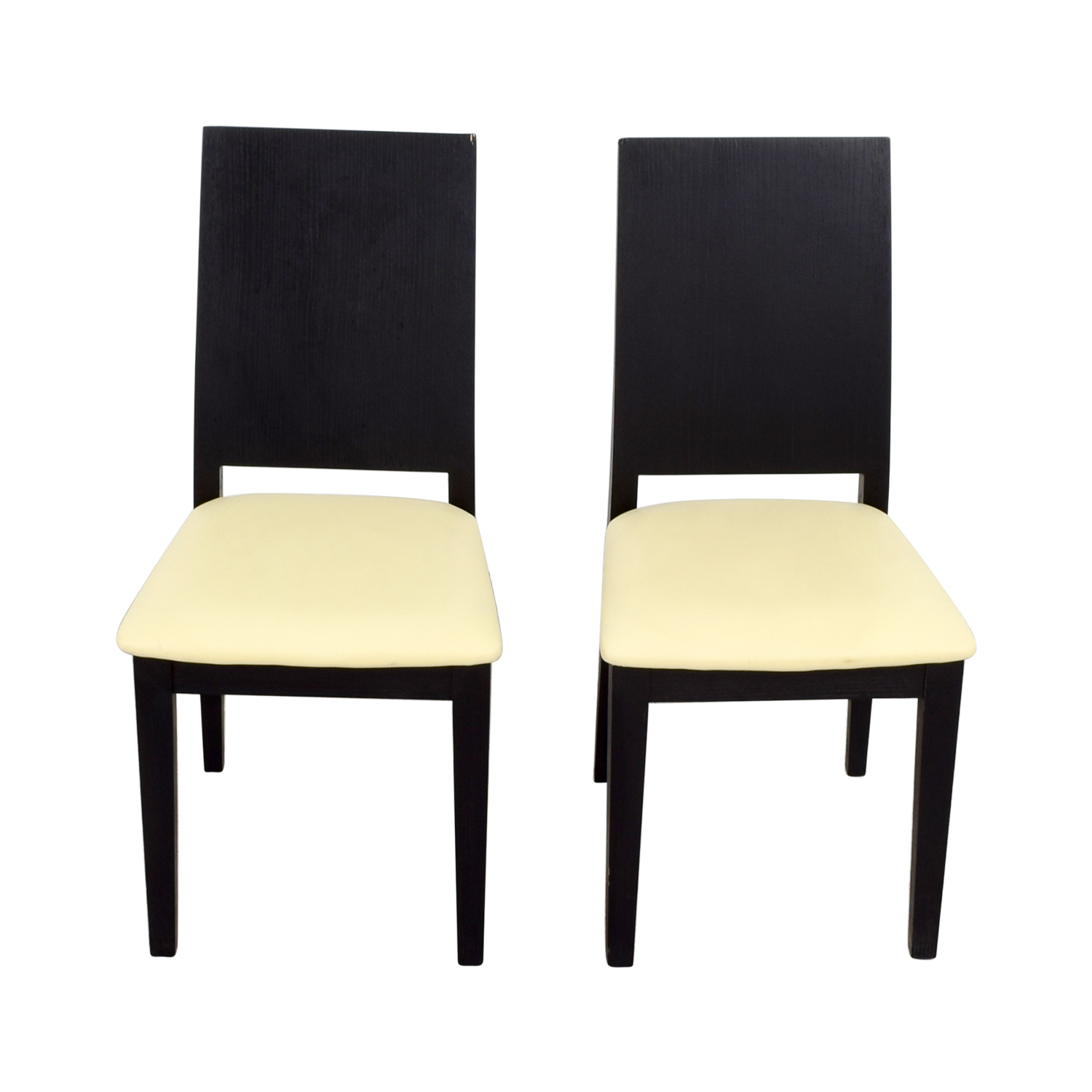 shop Black Frame with White Seat Dining Chairs
