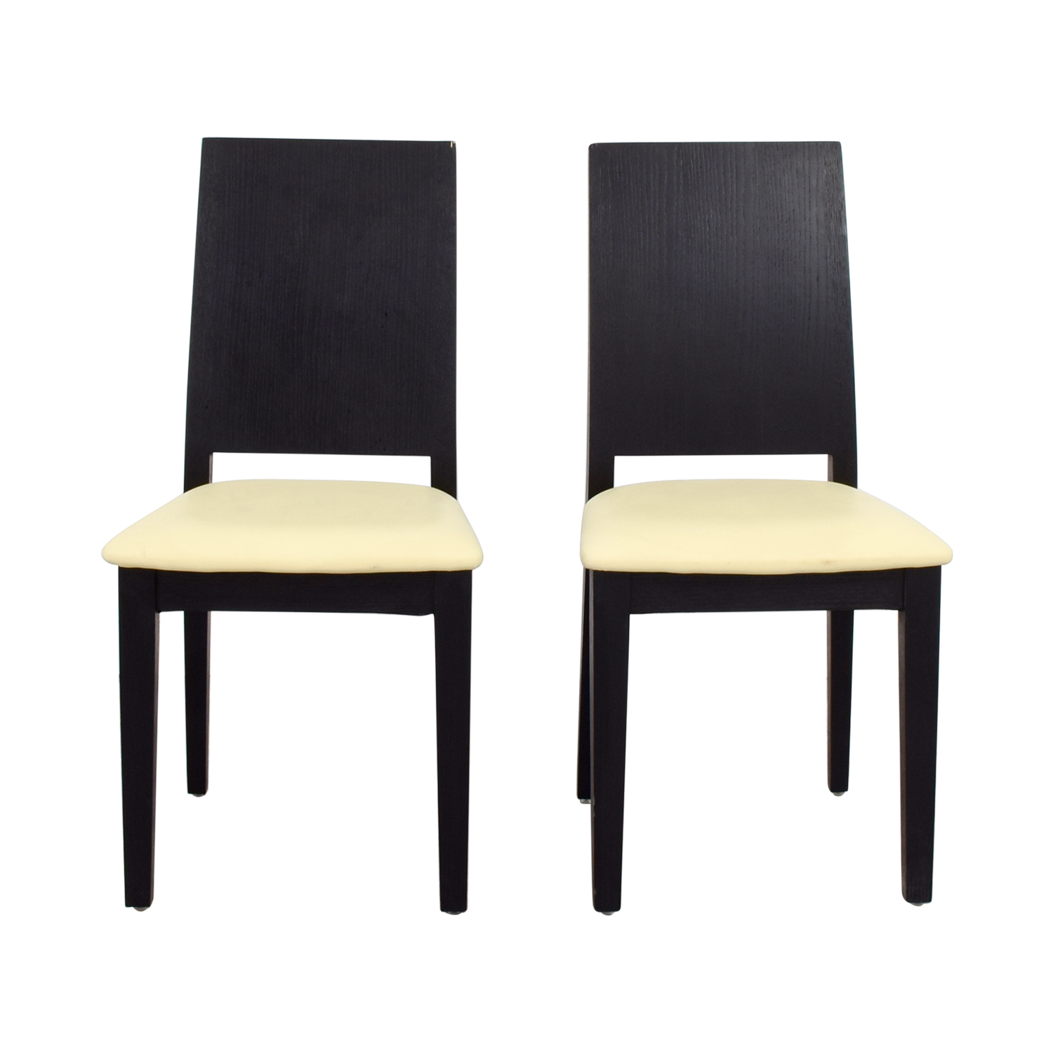 Black Frame with White Seat Dining Chairs nyc