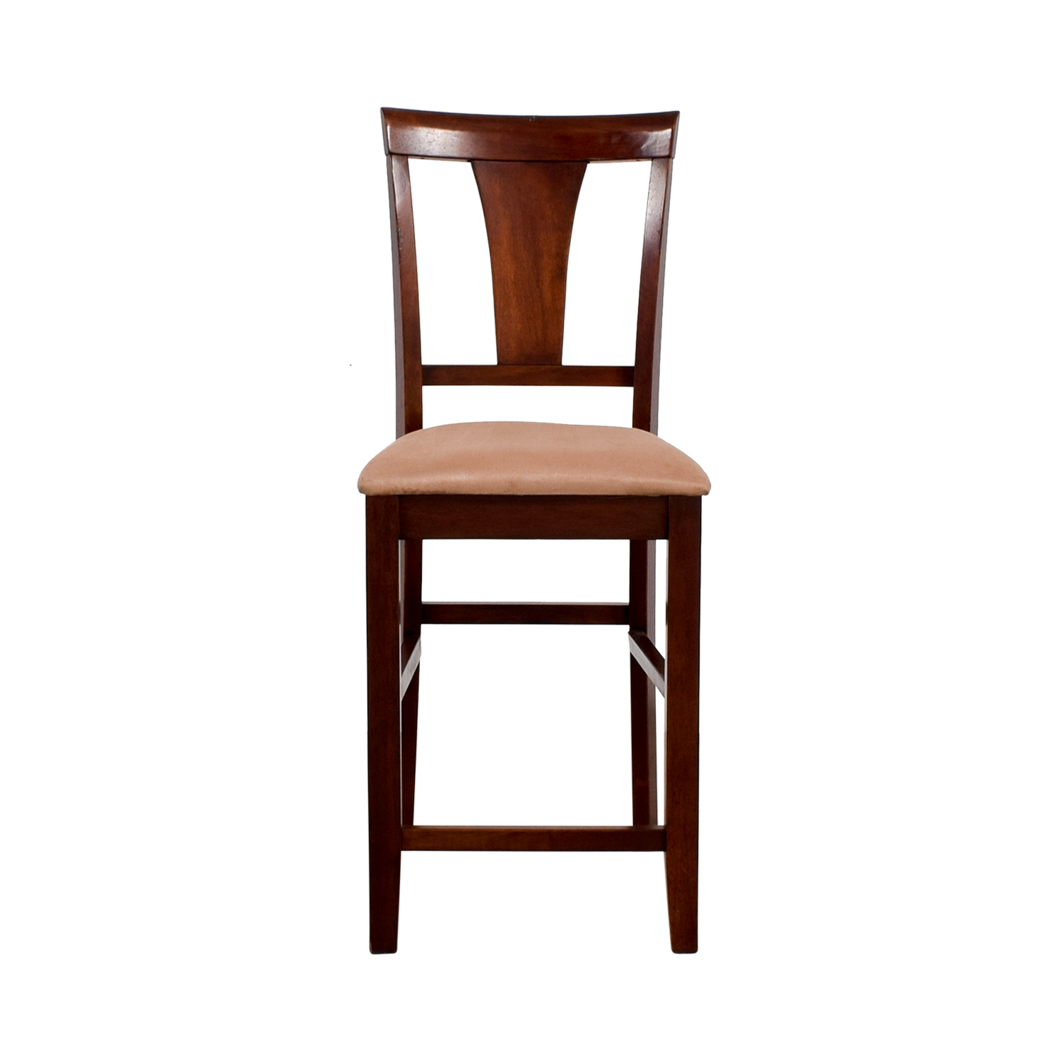 Light Cherry Wood Counter Height Chair with Padded Seat nj