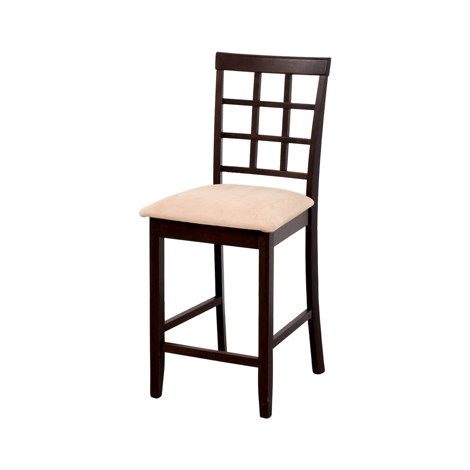 Counter Height Chair in Cappuccino and Tan Padded Seat Dining Chairs