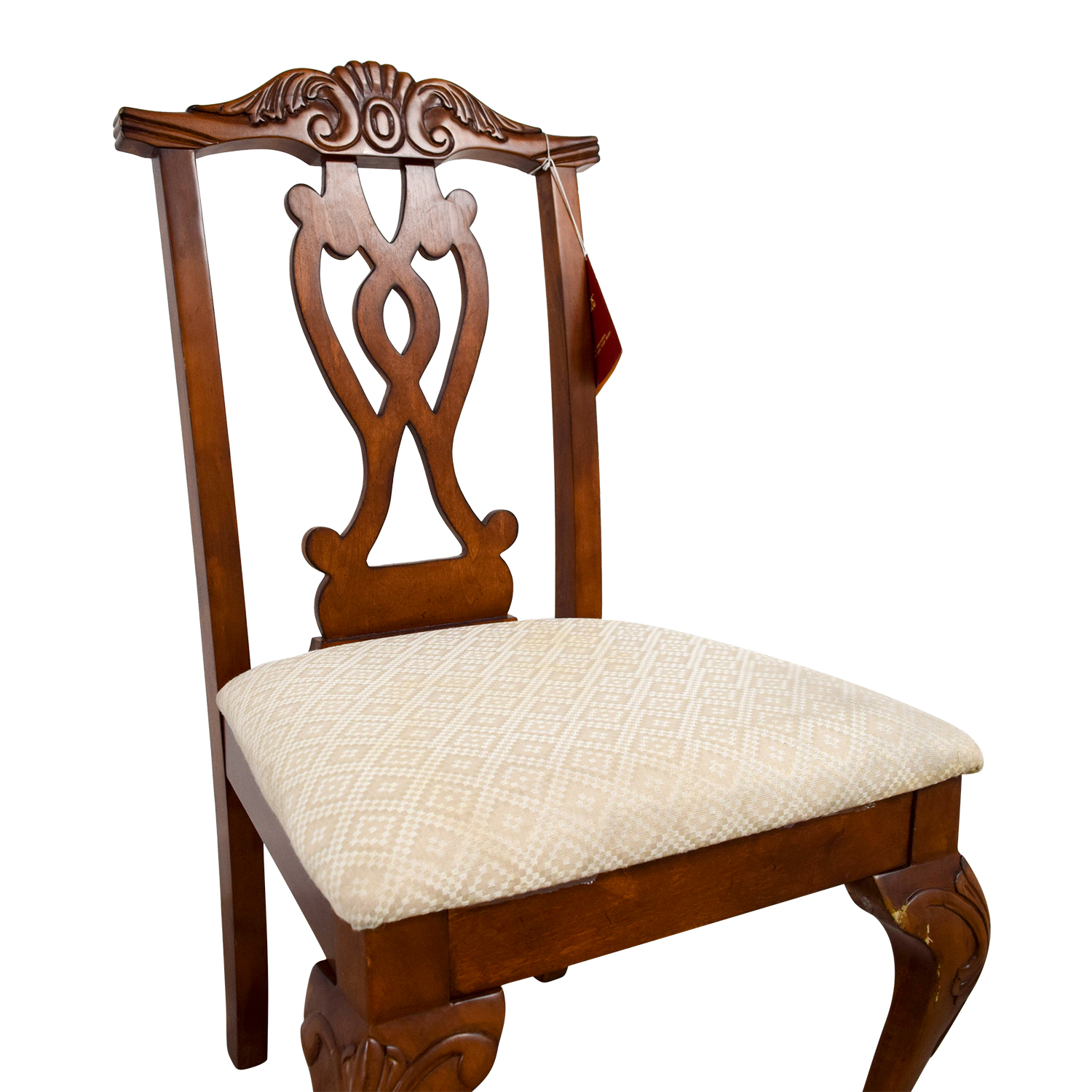Poundex Furniture Poundex Furniture Traditional Wood and Off White Chair dimensions