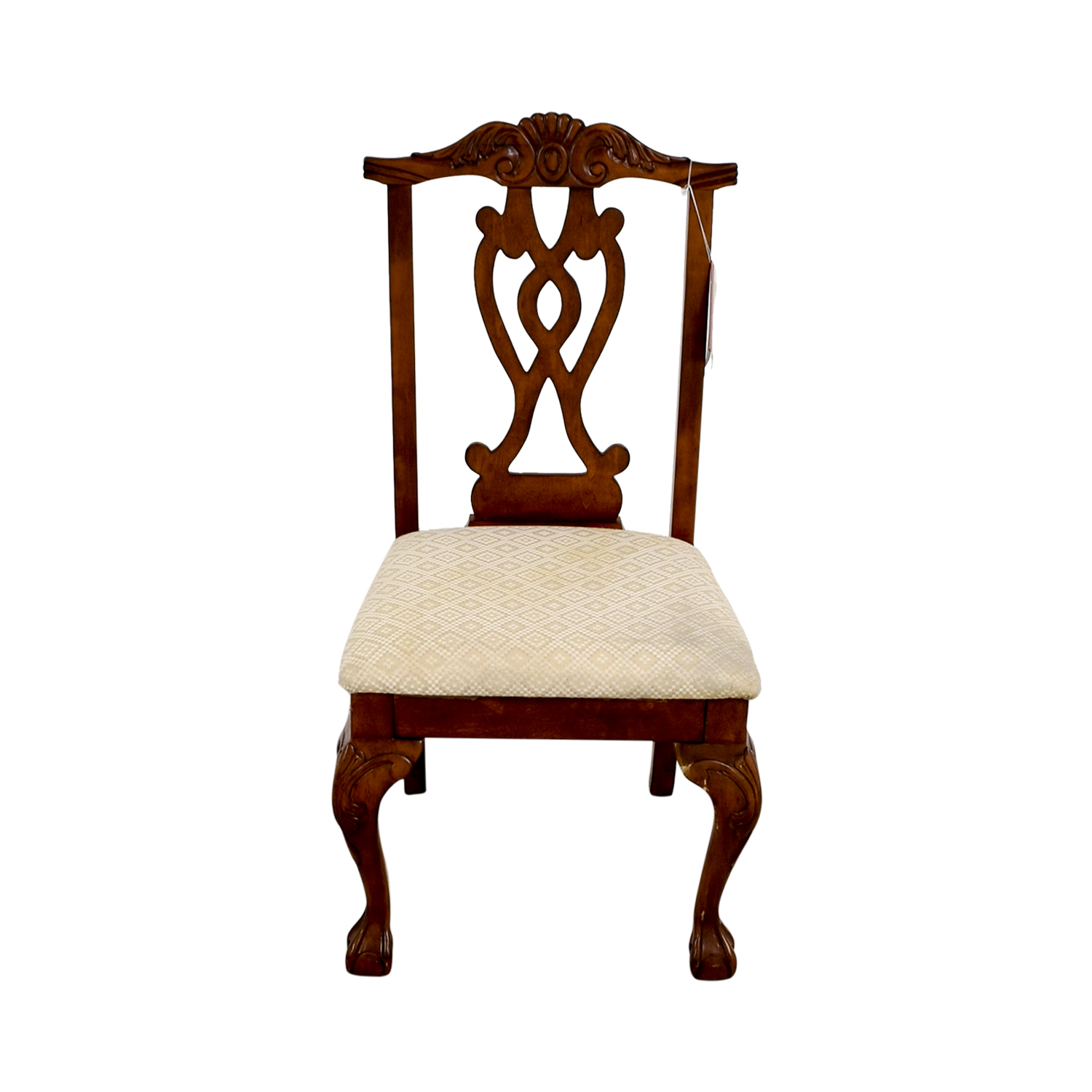 shop Poundex Furniture Traditional Wood and Off White Chair Poundex Furniture