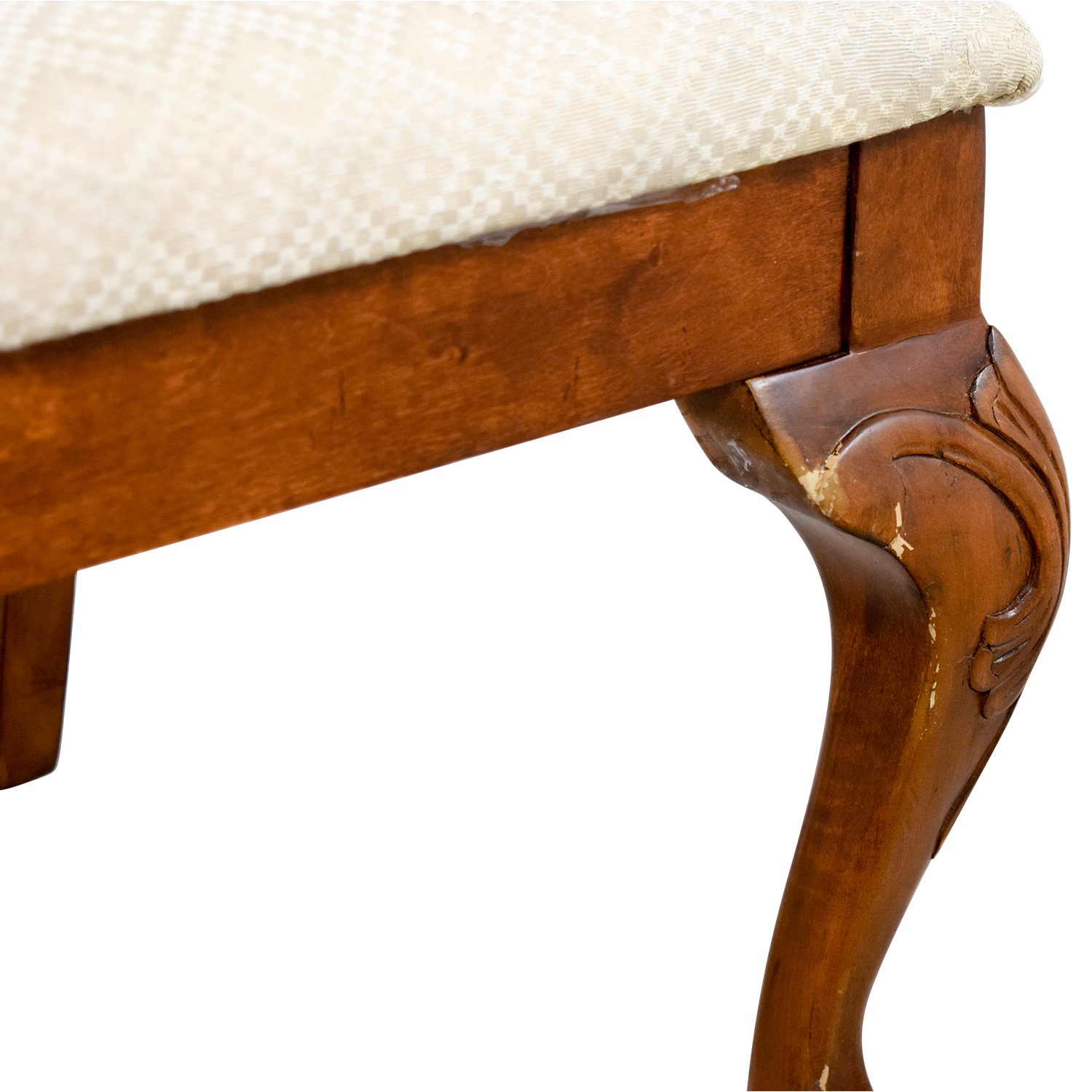 Poundex Furniture Poundex Furniture Traditional Wood and Off White Chair nj