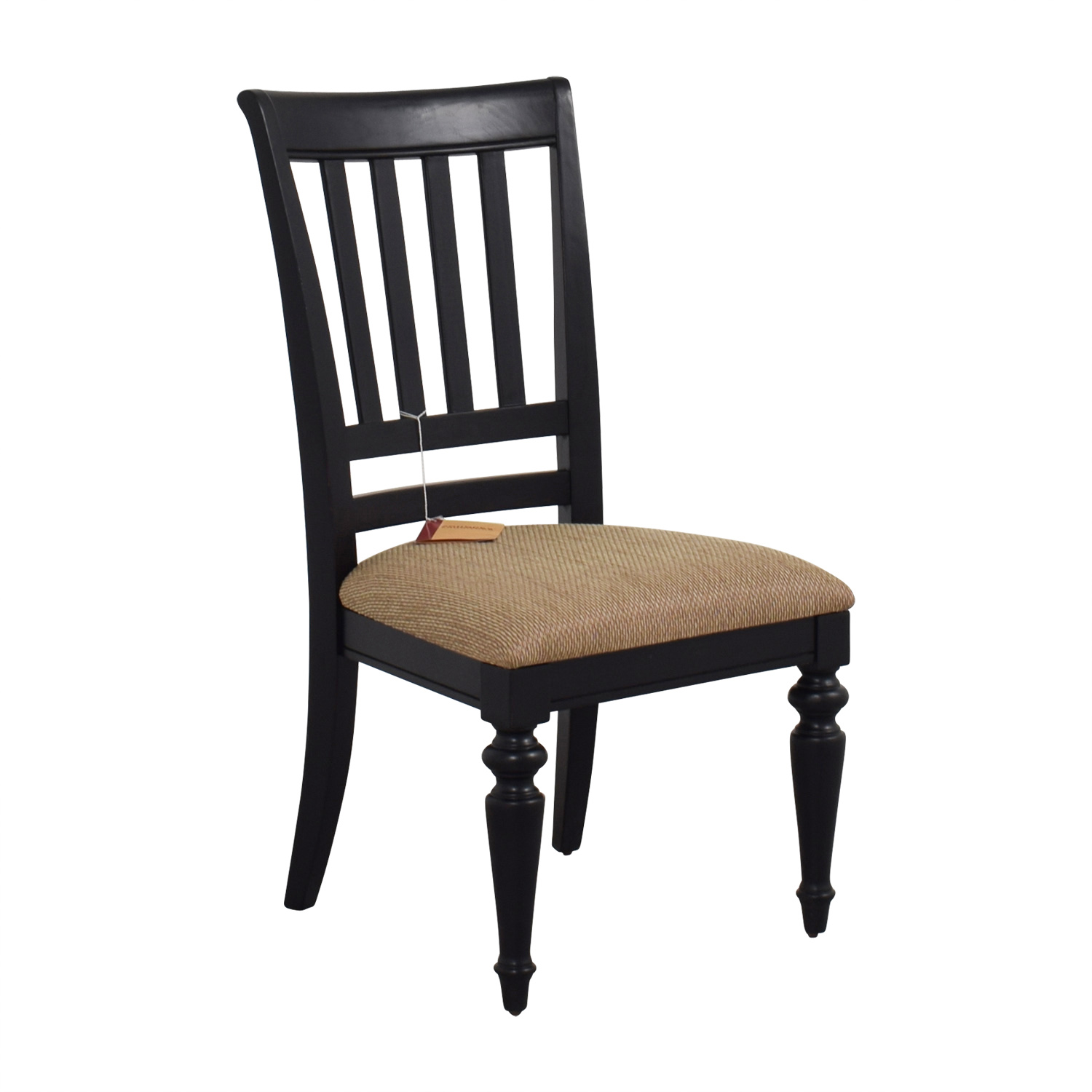 shop Poundex Furniture Black Chair with Padded Seat Poundex Furniture Dining Chairs