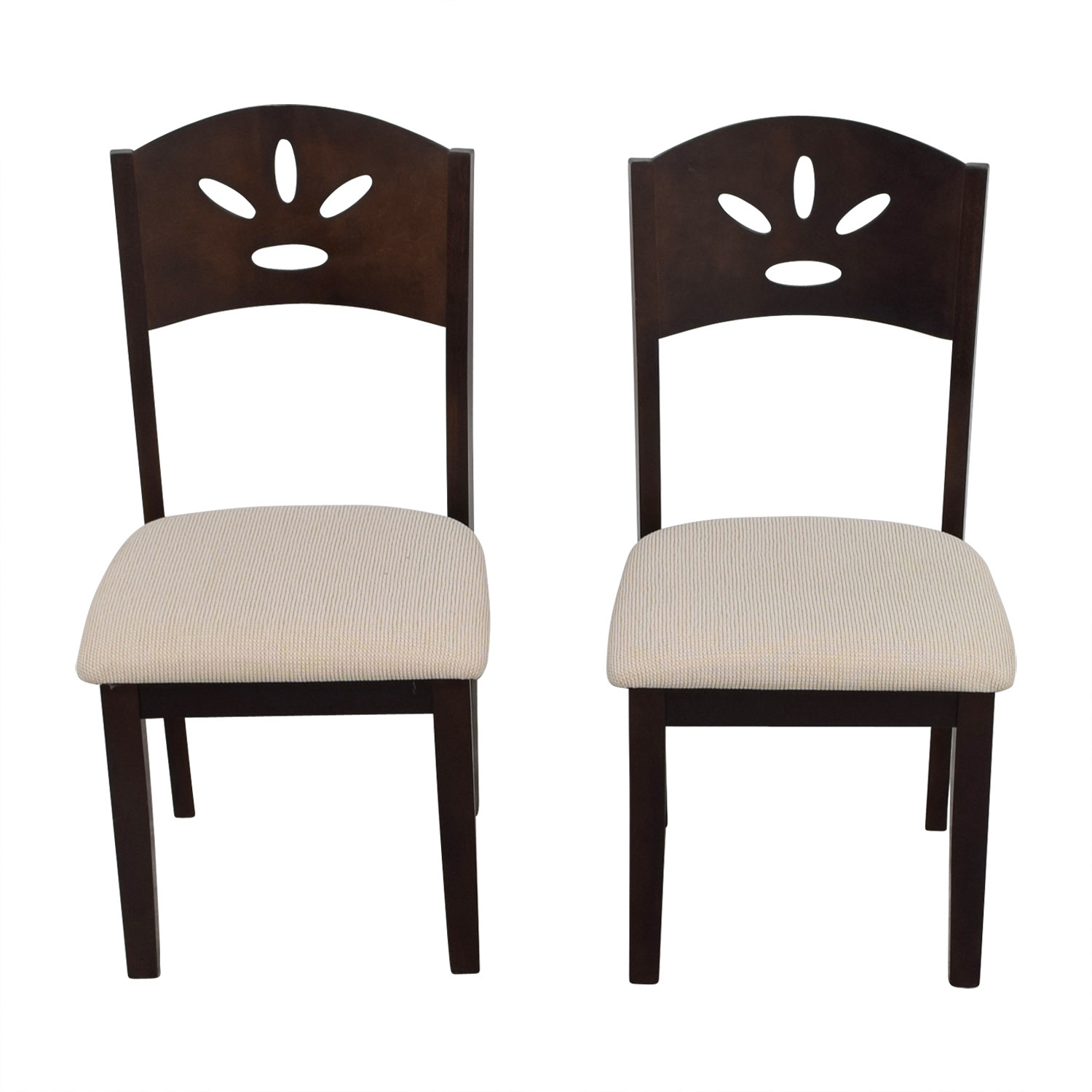 Off White and Wood Dining Chairs for sale