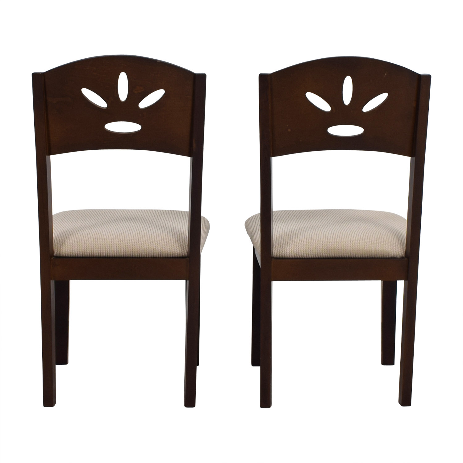 Off White and Wood Dining Chairs