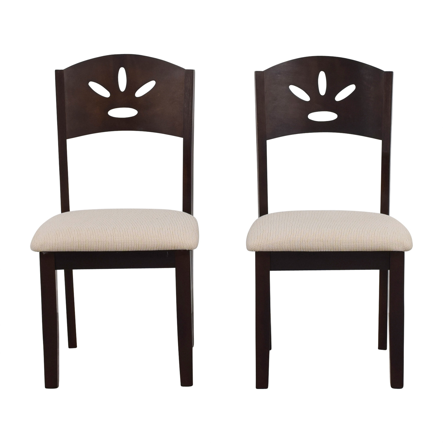 Off White and Wood Dining Chairs coupon