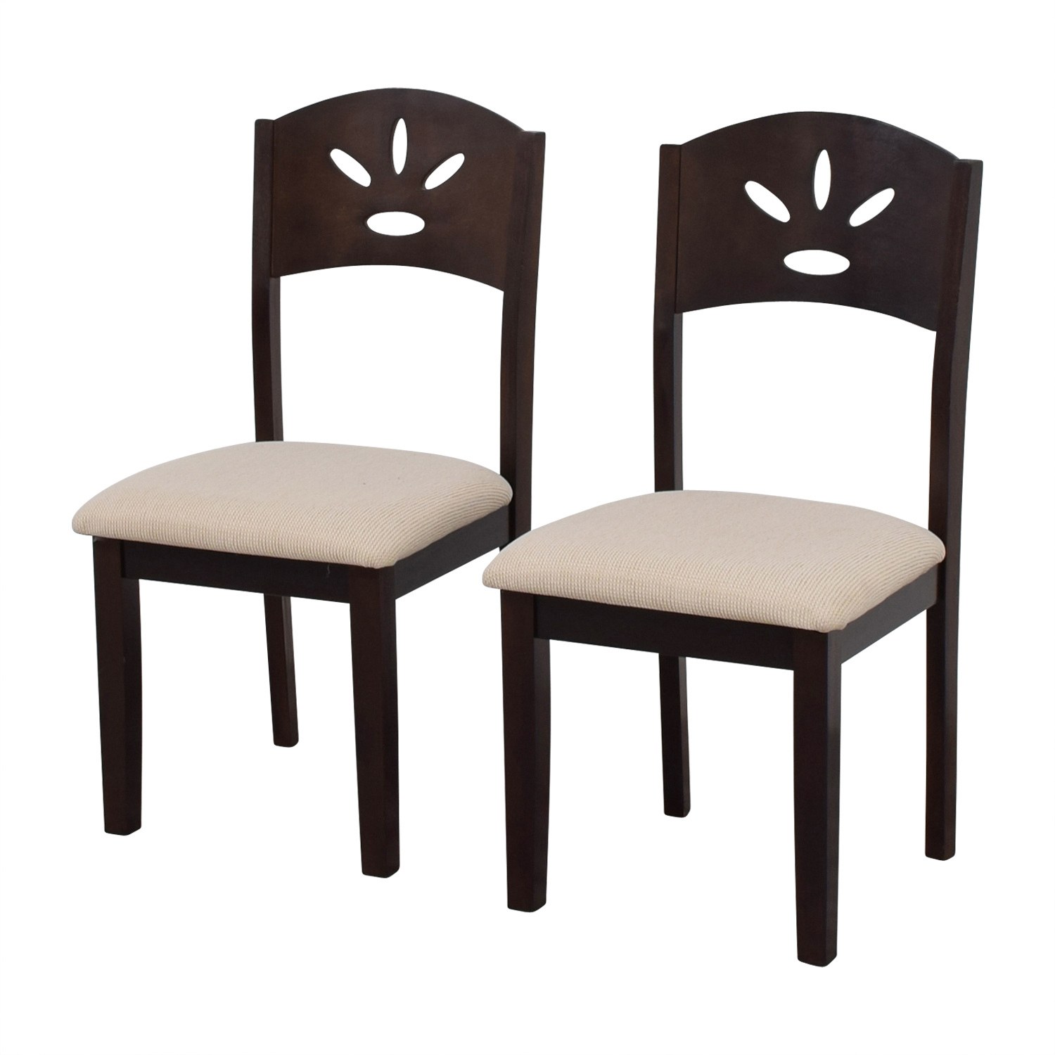 buy Off White and Wood Dining Chairs Chairs