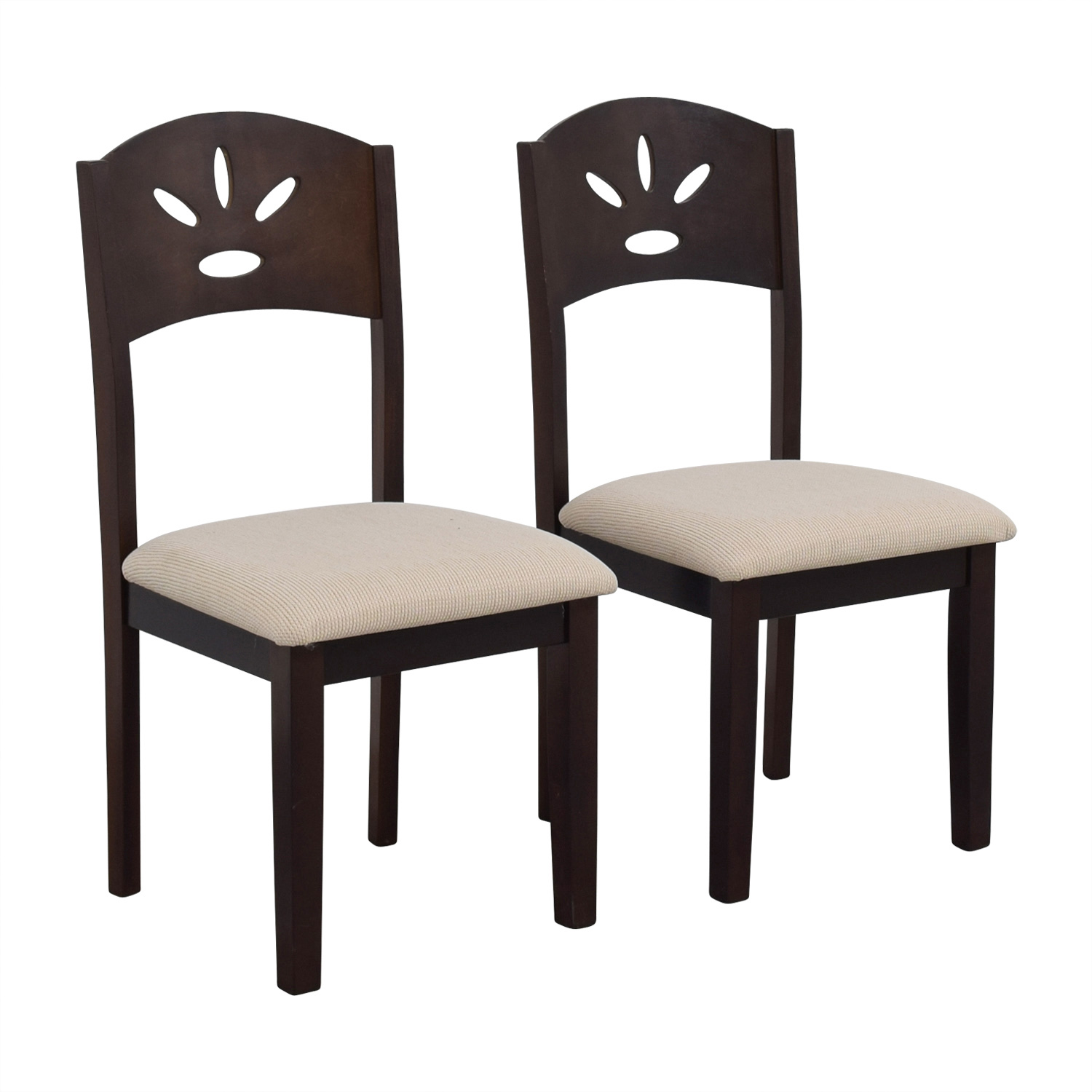 Off White and Wood Dining Chairs nj