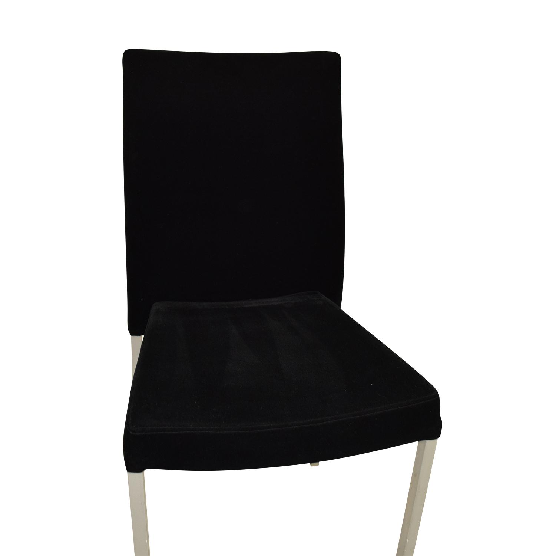 Modern Metal and Black Plush Fabric Chair coupon