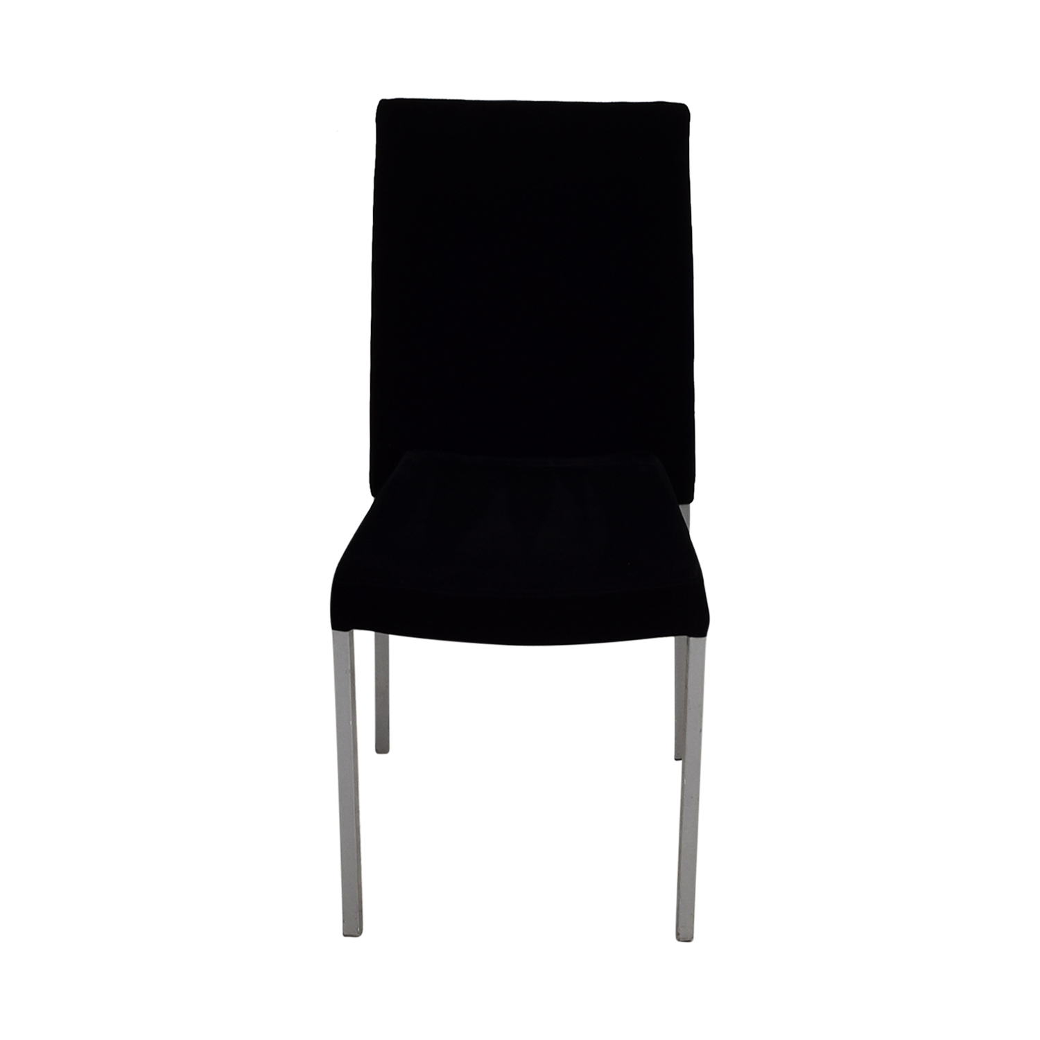 Modern Metal and Black Plush Fabric Chair second hand