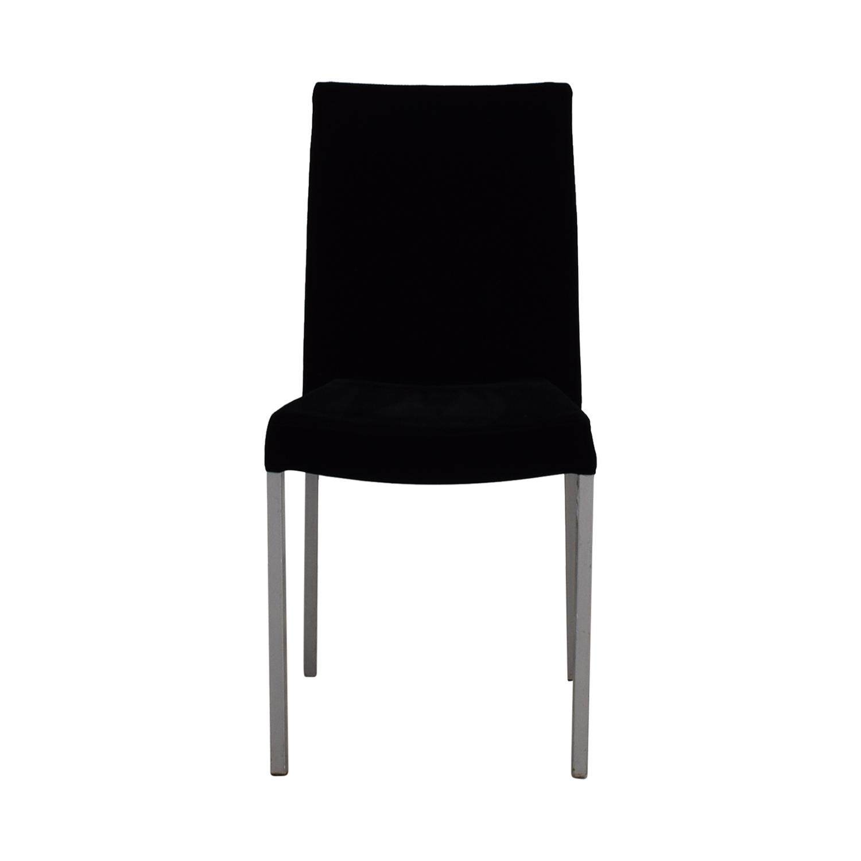 Modern Metal and Black Plush Fabric Chair on sale