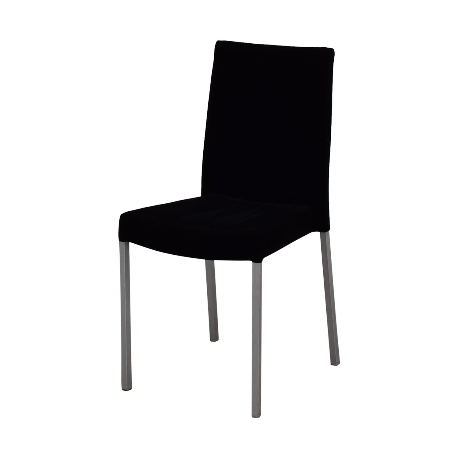 Great ... Modern Metal And Black Plush Fabric Chair Second Hand ...